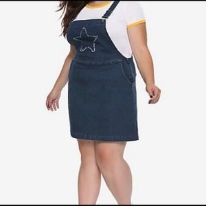Hot Topic Star Patch Denim Overall Dress